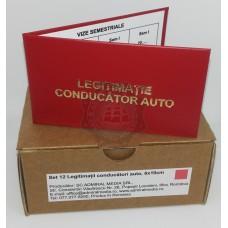 Set 12 Legitimatii conducator auto agreate ARR, Rosu, 6x10cm