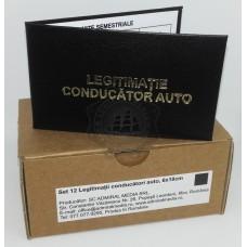 Set 12 Legitimatii conducator auto agreate ARR, Negru, 6x10cm