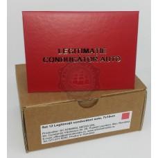 Set 12 Legitimatii conducator auto agreate ARR, Rosu, 7x10cm